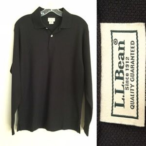 L.L. BEAN Men's Long Sleeve Polo Shirt Black Small